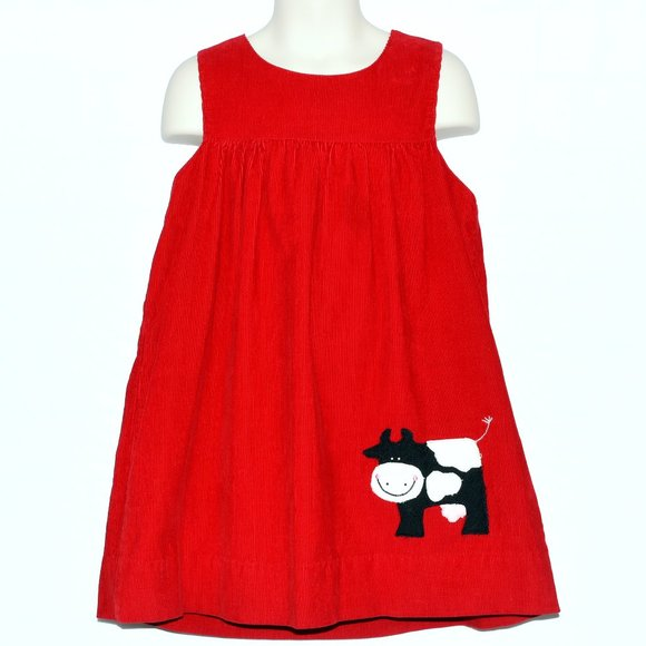 Other - Red Dress in Corduroy with Cow Applique !